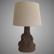 Vintage Incredibly Realistic Charming Faux Bois Tree Trunk Black Forest Lamp