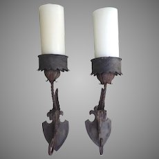 Pair of Nice Older Iron Gothic Style Large Sconces
