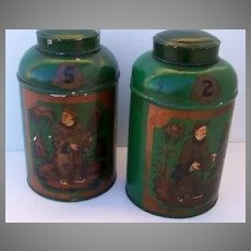 Pair of English Tole Painted Tea Bins