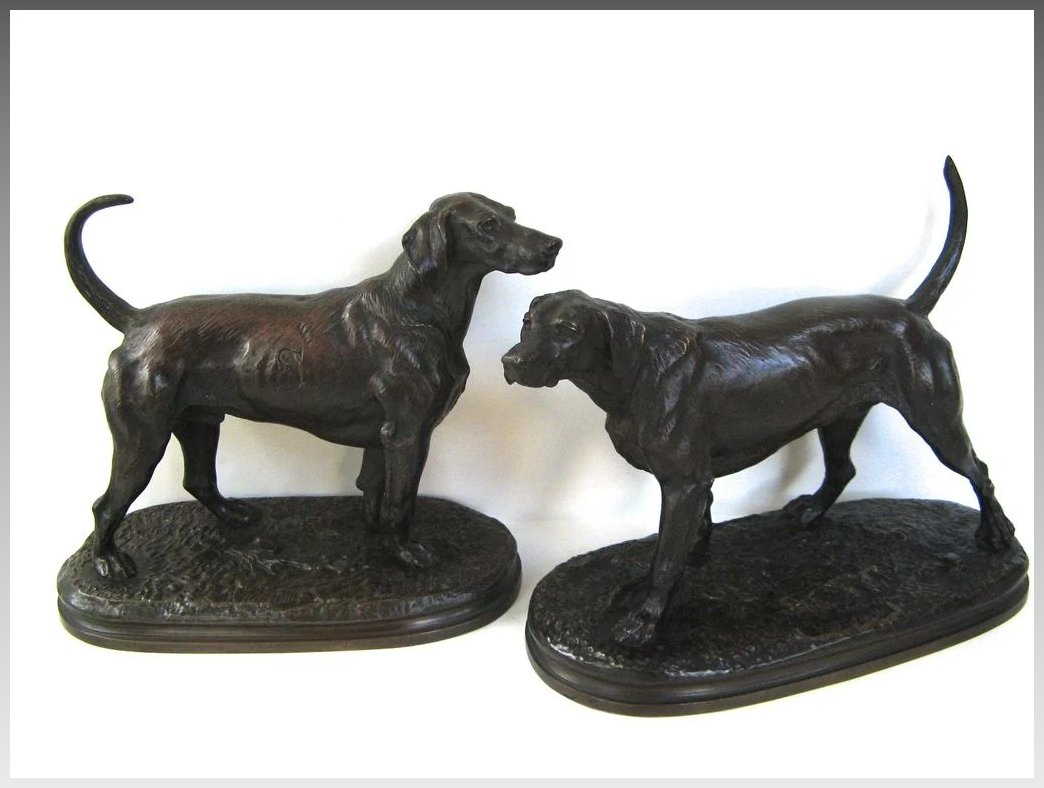 Pair of Bronze Hunting Dogs by Arthur Waagen : Black Tulip ...