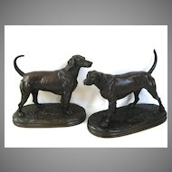 Pair of Bronze Hunting Dogs by Arthur Waagen
