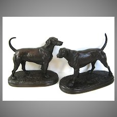 Pair of Bronze Hunting Dogs by Arthur Waagen Signed