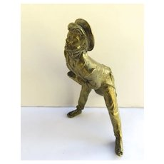 Bronze Figure of English Man Clock Finial Part Men's Tails Jacket