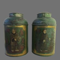 Pair of English Painted Tea Canisters Bins with Chinoiserie Decoration