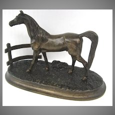 French Bronze of Colt Horse in Paddock Field