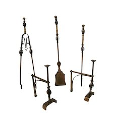 Arts and Crafts Superb Andirons & Fireplace Tools Copper Planished