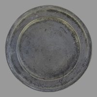 "European Pewter Plate Charger 9"" Initials Touch Marks"