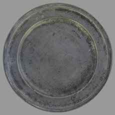 """European Pewter Plate Charger 9"""" Initials Touch Marks"""