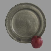 """18th Century Pewter Charger Plate Large 12.25"""" Diameter Initials Touch Marks"""