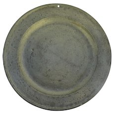 """Large Pewter Charger 16 1/2"""" 18th Century"""