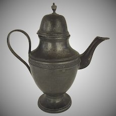 19th Century French Pewter Ewer Tea Coffee Pot  Spout Country