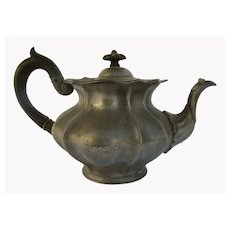 Pewter Pot with Wood Handle and finial by James Dixon and Sons