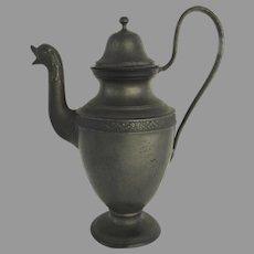 19th Century French Pewter Ewer Tea Coffee Pot  Swan Duck Bird Spout