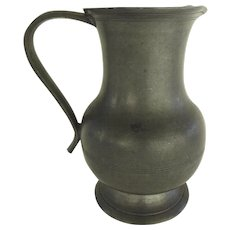 19th Century English Pewter Jug Pitcher Spout