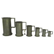 Set of Six (6) Pewter Graduated Measures Assay Marks