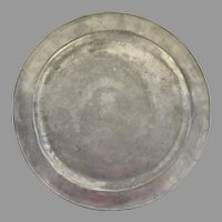 English Large Pewter Charger 18th Century with Initials
