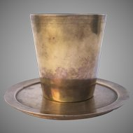 Late 19th Century Cast Bell Metal Beaker & Under Plate