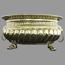 19th Century Brass Jardiniere with Lion Heads