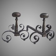 Pair of French Polished Steel Andirons XVII Century