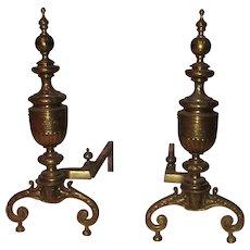 English Brass Andirons 19th Century