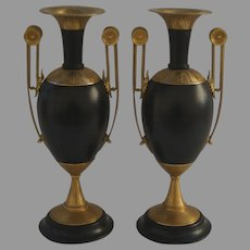 Pair of 19th Century Urns with Gilt Bronze Ormolu Mounts