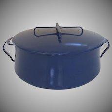 Vintage Mid Century Dansk Dark Blue Enamel Kobenstyle Stock Pot Pan and Lid Large