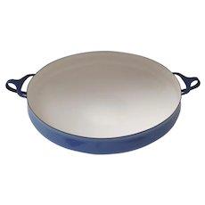 Mid Century Large Dansk Dark Blue Enamel Kobenstyle Paella Pan