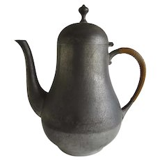 Vintage Dutch Royal Holland Pewter Teapot with Rattan Covered Handle