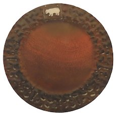"""Vintage Jan Barboglio Hammered 14"""" Tray Charger with Bear"""