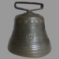 Large Bronze German Swiss Cow Bell Great Patina