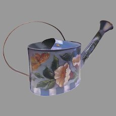 Vintage Hand Painted Watering Can Butterfly Ladybugs Flowers Signed and Dated