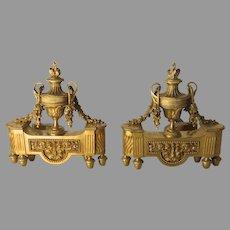 19th Century French Ormolu Chenets Andirons