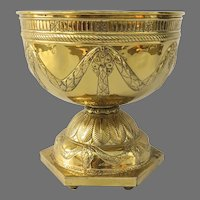 Large English Late 19th Century Brass Repoussé  Plant Urn Revolving Rotating