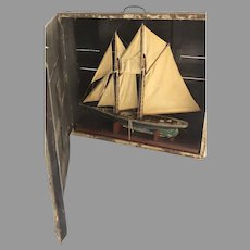 1900's Two Masted Schooner Sailboat Model in Case