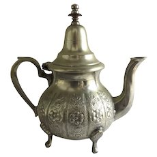 Vintage Metal Repousse Teapot Footed