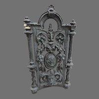 1890's Cast Iron Fragment Piece North Wind Classical Greek Garden