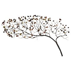 Vintage Cast Copper Tree with Multicolor Leaves