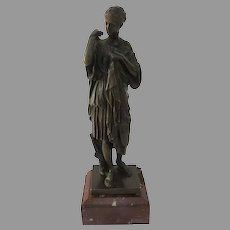 Late 19th Century Diana Bronze Statue with Marked Marble Base Muse Du Louvre