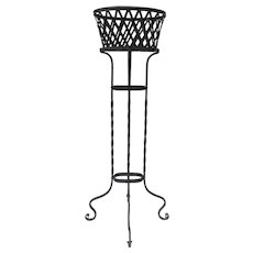 Vintage Iron Tall Planter Basket Shaped  and Lattice Motif Plant Stand