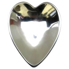 Large Vintage Nambé 119 Heart Shaped Aluminum Bowl