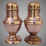 Pair of Mid Century Large Copper Salt and Pepper Footed