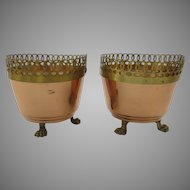 Vintage Copper and Brass Trimmed Paw Footed Small Jardinieres