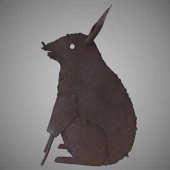 Vintage Sheet Metal Welded Sculpture of Sitting Bunny Rabbit