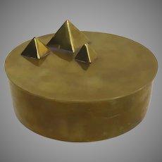 Vintage 1970's Pyramid Motif Round Box