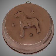 Vintage Copper Dala Horse Mold Tin-Lined Kitchenware Made in Sweden
