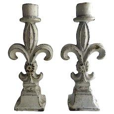 Vintage Cast Iron Fleur de Lis Candlesticks Finials