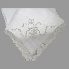 Most Delicate Petit Vintage Linen Lace Embroidered Handkerchief Wedding Special
