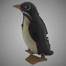 Vintage Tin Toy Wind Up Lithograph Penguin