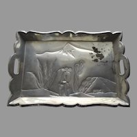 Vintage Mexican Tin Gallery Edge Tray