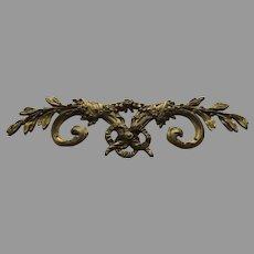 """Large 19th Century French Ormolu Furniture Mount Hardware 11"""" Long Ribbon Laurel"""
